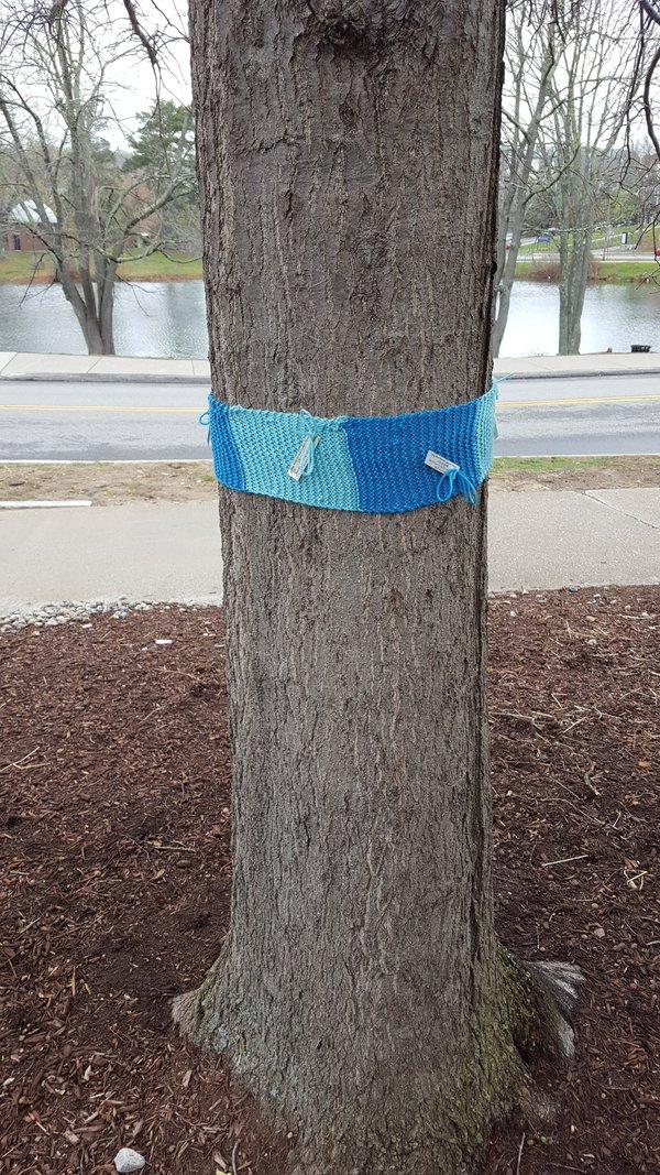 Knitting Art Project - Austin Bus Stop