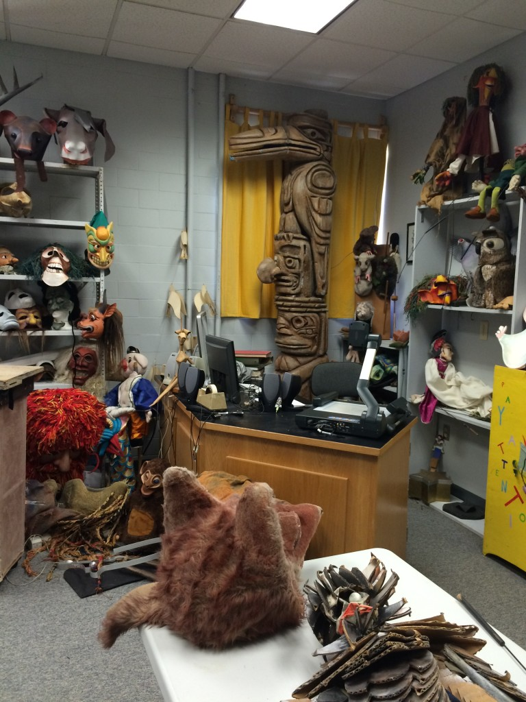 A classroom in the puppet lab.
